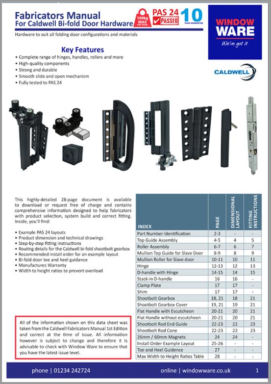 Caldwell - Fabricators Manual for Bi-fold Door Hardware