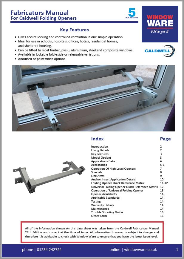 Caldwell - Fabricators Manual for Folding Openers